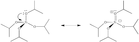 Resonance structures of titanium isopropoxide. A lone pair on the oxygen can form a double bond between the oxygen and titanium to leave a positive charge on the oxygen and a negative charge on the titanium.